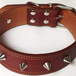 Collar Cuero Namur Conos de perro en cuero marrón