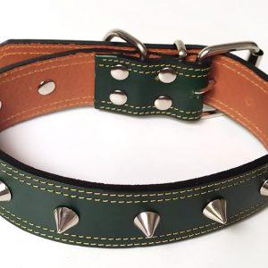 Collar Cuero Gante Conos de perro en piel verde