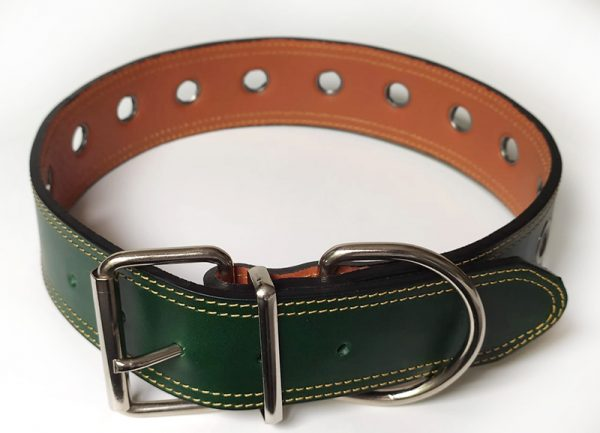 Collar para perros grandes cuero verde.