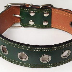 Collar Cuero Gante Calado de perro verde de cuero con agujero.