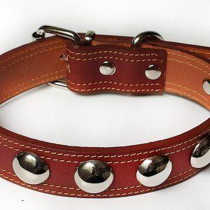 Collar Cuero Namur Esferas marrón de piel para perros grandes.