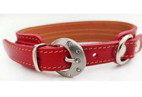 Collar de perro pequeño en piel roja fantasía.