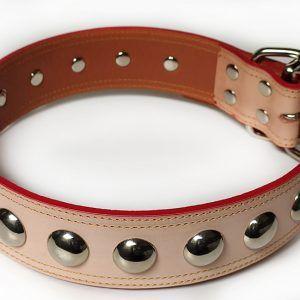 Collar Cuero Veurné Esferas canino cuero claro.
