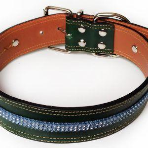 Collar Cuero Gante Crystal de Perro en Swarovsky